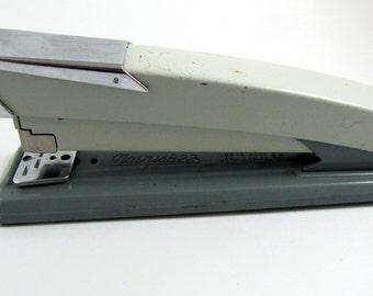 Vintage Industrial Stapler | NOVUS B22 Gray Metal & Chrome Stapler | GERMANY