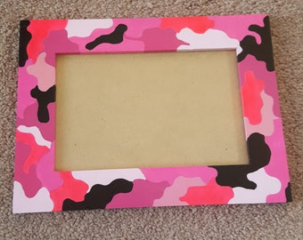 Handpainted pink camouflage picture frame