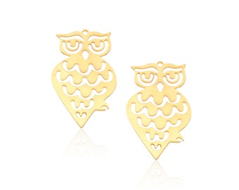 Gold Owl Pendant, 2 Pc, Large Owl Pendant, Gold Bird Pendant, Gold Woodland Pendant, Gold Plated Charm, Gold Owl Jewelry, Laser Cut Findings