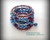 Blue Fossil bead and Copper Bracelet, Swarovski Crystal bracelet, Beaded bracelet, Bohemian bracelet, Copper bracelet, Gift for her