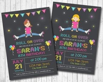 Roller Skating Birthday Invitation , Roller Skate Invite, Roller Skate Party, Chalkboard, printable