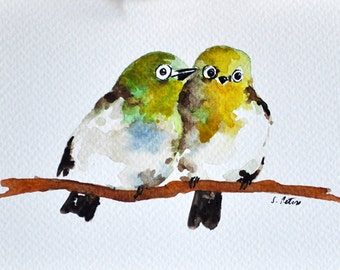 ORIGINAL Watercolor Painting, Colorful Green Birds Postcard 4x6 inch