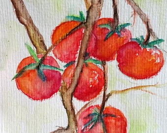 ORIGINAL Watercolor Painting, Red Tomato Painting, Vegetable Art 4x6 Inch
