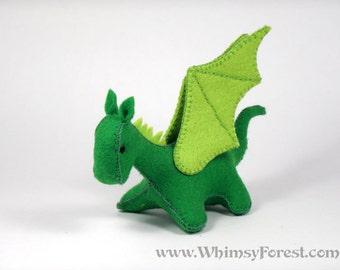 Miniature Spring Green Felt Toy Dragon
