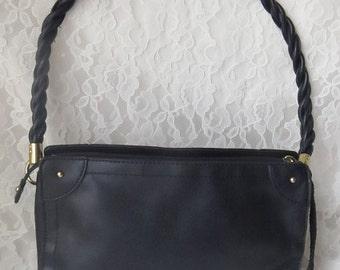 Vintage Black Relic Faux Leather Purse, Hand Shoulder Bag, Brass Hardware, Tassles, Braided Handle