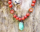 Red Jasper necklace, Chrysocolla necklace, boho necklace, Picasso necklace, trending jewelry,