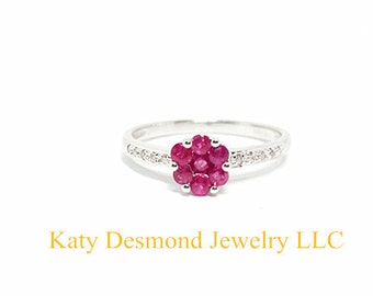 14KW Rubies and Diamonds ring/Wedding ring/Engagement ring/Anniversary ring/Timeless ring/Promise ring/Graduation ring/Birthday Ring #054433