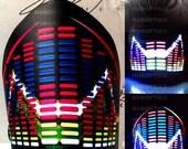 Samurai Mask Ninja Mask EQ Curve - Light Up Equalizer Mask Sound Reactive for Cyborg masquerade edc DJ gigs tron rave robot Glow Led subzero