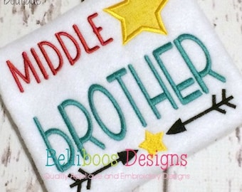 Middle Brother Applique Design - Middle Brother Embroidery Design - Sibling Applique Design - Sibling Embroidery Design - Brother Applique