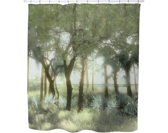SHOWER CURTAINS, PALMS, Palm Trees, Blue, Green, Pastel, Tropical,