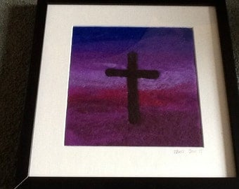 Needle Felted Cross Picture - Purple - Christian Art