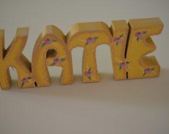 Hand painted wooden 'KATIE' nickname display piece/art name piece