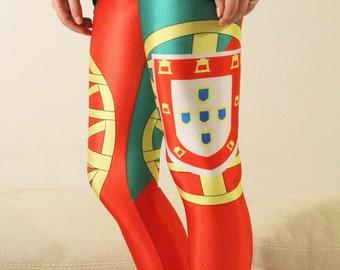 GO PORTUGAL GO! Leggings Flag Leggings/ Portuguese Clothing / Soccer/ Football/ World cup/National Flag Country Cycling leggings Tights dp43