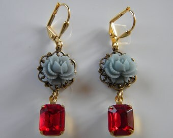 Scarlet and Gray Earring Ruffled Gray Rose and Scarlet Red Glass Dangle OSU Earring