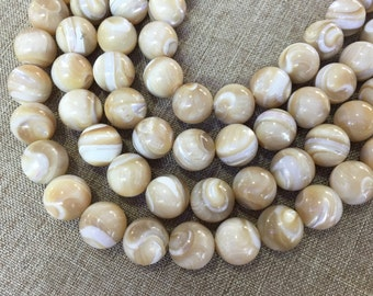 40pcs  6mm 8mm 10mm Mother of Pearl Round Beads,Pearl Beads , Seashell Beads