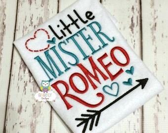 Little Mister Romeo Shirt or Bodysuit, Boy Valentine Shirt, Heart Breaker Shirt, Little Mister, Mister Romeo Valentine Shirt