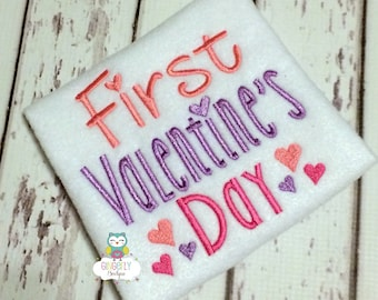 First Valentines Day Shirt or Bodysuit, First Valentines Day Shirt, Girl First Valentine's Day, Valentine's Day, 1st Valentines