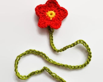 Red flower umbilical cord tie for newborn baby - made to order