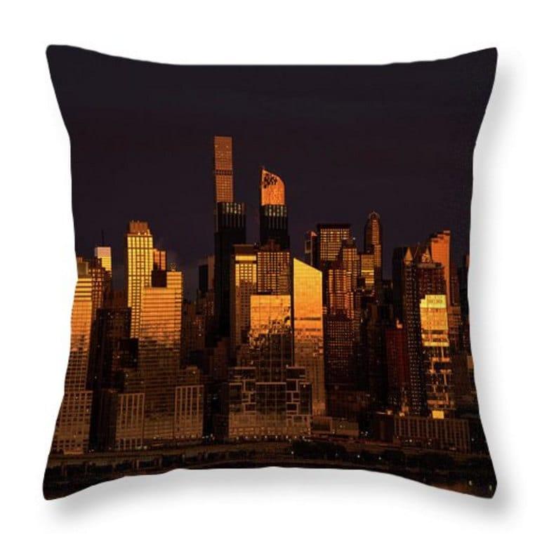 Dark Orange Decorative Pillows : New York Reflections Throw Pillow. Orange Pillow. Dark Orange