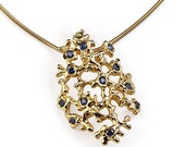 SALE 20% Off - SEA SPRAY Gold Sapphire Pendant Necklace, Blue Sapphire Pendant Necklace, Unique Gold Pendant Necklace, Organic Pendant, Cora