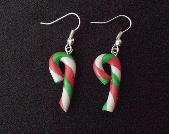 Red and Green Christmas Peppermint Candy Cane Dangle Earrings