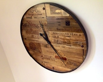 Wine Barrel Wall Decor wine art wall art vineyard reclaimed wood barrel wall clock