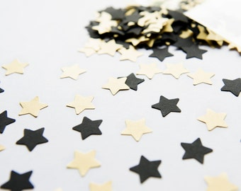 300 Black and Gold Confetti. Black and golden Star confetti - Wedding decoration - Party Decor - Table Scatter - Wedding toss - Funny Stars