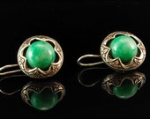 Antique Chinese Apple Green Jade Button Silver Dangle Earrings