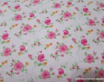 Flannel Fabric - Roses Painting Pink - 1 yard - 100% Cotton Flannel