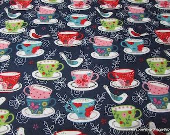 Flannel Fabric - Tea Cups - 1 yard - 100% Cotton Flannel