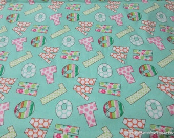 Flannel Fabric - Letters Birdwood Turquoise - 1 yard - 100% Cotton Flannel