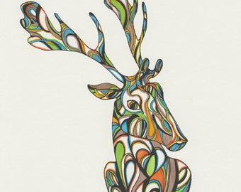 Stag Colour Screen Print | A4 | deer | reindeer| Illustration | Drawing |Oringinal Print| pen & ink | poster