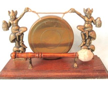 Vintage Collectible Dinner Gong, Table Gong, Wooden Based Display, Brass Gong, Pixie Design, Original Hammer, Old Gong, Ring for Dinner, Old