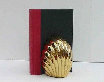 Vintage Brass Waterfall Shell Bookend Single Book End Hollywood Regency Glam  Mid Century Holder Shelve Desktop Eclectic Books Home Decor