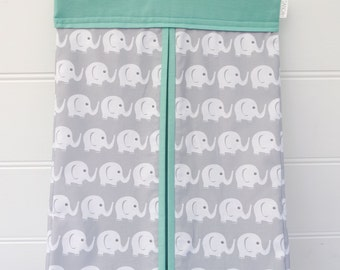 Nappy Stacker - Diaper Stacker with Mint & Grey Elephants