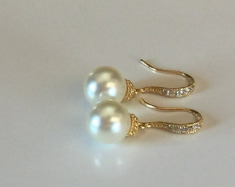 Gold pearl dangle earrings, wedding jewelry, Crystal and pearl earrings, bridal earrings, bridesmaid jewelry,  ivory pearl earrings