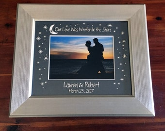 """Custom Wedding """"Our Love Was Written In the Stars"""" Photo Mat - with names & date"""