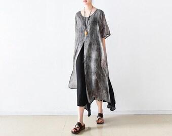 Linen cotton fake two irregular loose even dress long skirt hem robe