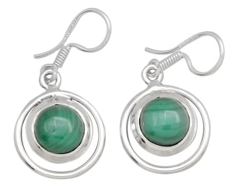 Natural Malachite Gemstone Earrings 925 Sterling Silver Jewelry IE19898