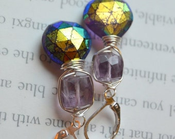 ON SALE amethyst earrings, wire wrapped earrings, purple earrings, silver earrings, dangle earrings, bohemian earrings, gift for her