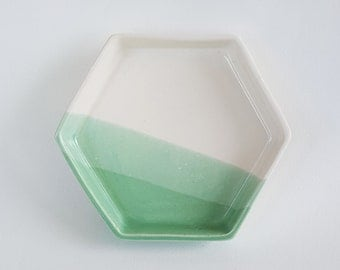 Mint Green and White Hexagonal Saucer