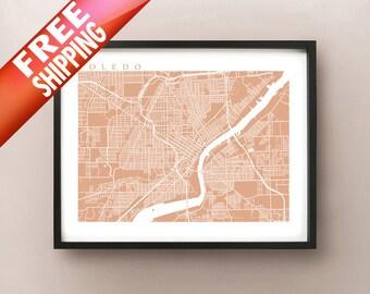 Toledo Map - Ohio Poster Print