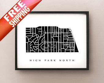 High Park North Map - Toronto Neighbourhood Art Print