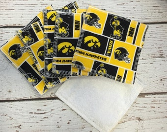 Iowa Hawkeye washcloths, cloth wipes, facial cloths