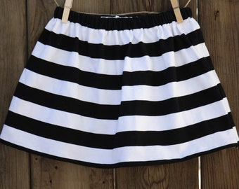 Girl's Black and White Stripe Skirt | Baby Skirt | Toddler Skirt | Twirl Skirt