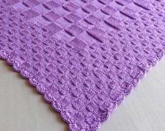 Purple hand knitted baby blanket - newborn blanket