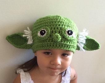 Yoda Hat - Crochet Star Wars Yoda Costume Hat - Kids Star Wars Costume - Comic-Con Costume - Cosplay - Baby Star Wars - Newborn Star Wars