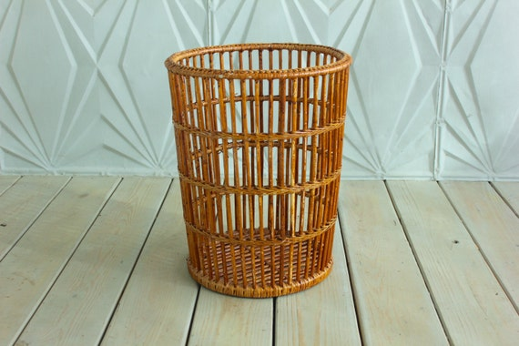 Kitchen Waste Basket Holder: Vintage Bamboo Storage Basket Trash Can Bathroom Kitchen