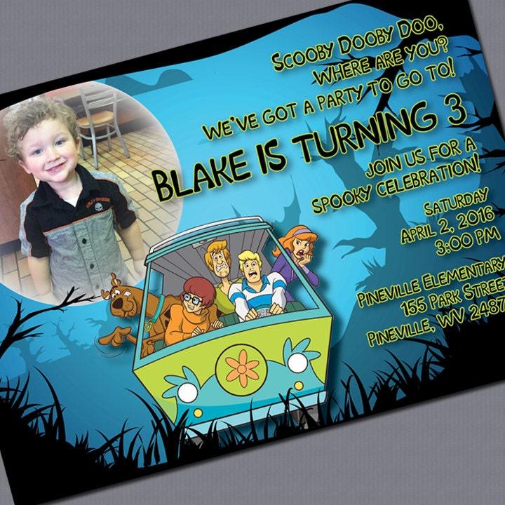 Scooby Doo Printed Invitations Photo Optional