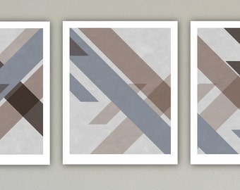 Abstract Art Print Set, Large Print, Minimalist Art, Geometric Art, Contemporary Art, Wall Decor, Triptych print set